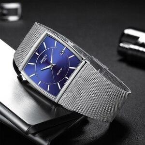 Image 2 - NIBOSI montres hommes en acier inoxydable maille bracelet noir montre bracelet affaires créatif carré montres hommes horloges Relogio Masculino