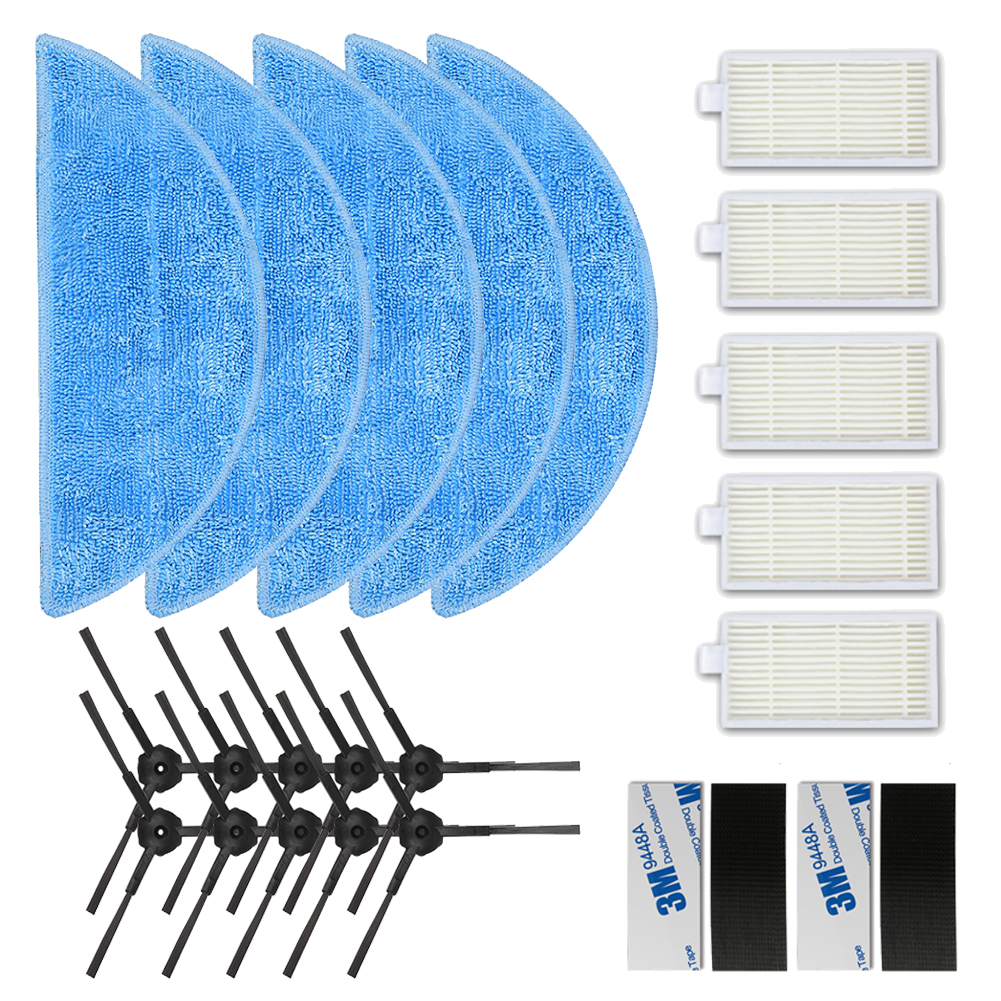 5*HEPA Filter+10*Side Brush+5*Mop Cloth+5*magic paste for ilife v5s pro ilife v5 ilife x5 V3+ V50 V3 v5pro Vacuum Cleaner Parts цена 2017