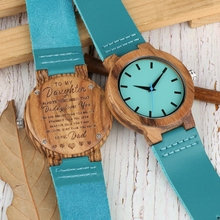 Family Gifts DIY Customized Logo Watch To My Daughter Daddy Love You Wood Clock Chic Blue Leather Girls Women Woody Quartz