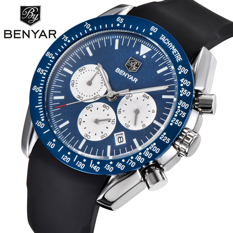 BENYAR Chronograph Silicone Men Watch Top Brand Luxury Waterproof Sport Male Quartz Wrist Watch Military Mens Relogio Masculino benyar luxury top brand men watches sports military army quartz wrist watch male chronograph clock relogio masculino gift box