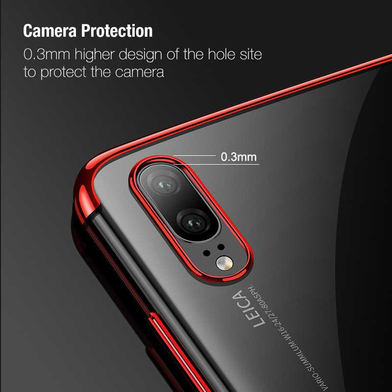רך TPU מקרה עבור Huawei P30 P20 P10 Mate 20 10 פרו לייט ציפוי שקוף טלפון כיסוי עבור Huawei נובה 3e 3 P חכם מקרה Coque