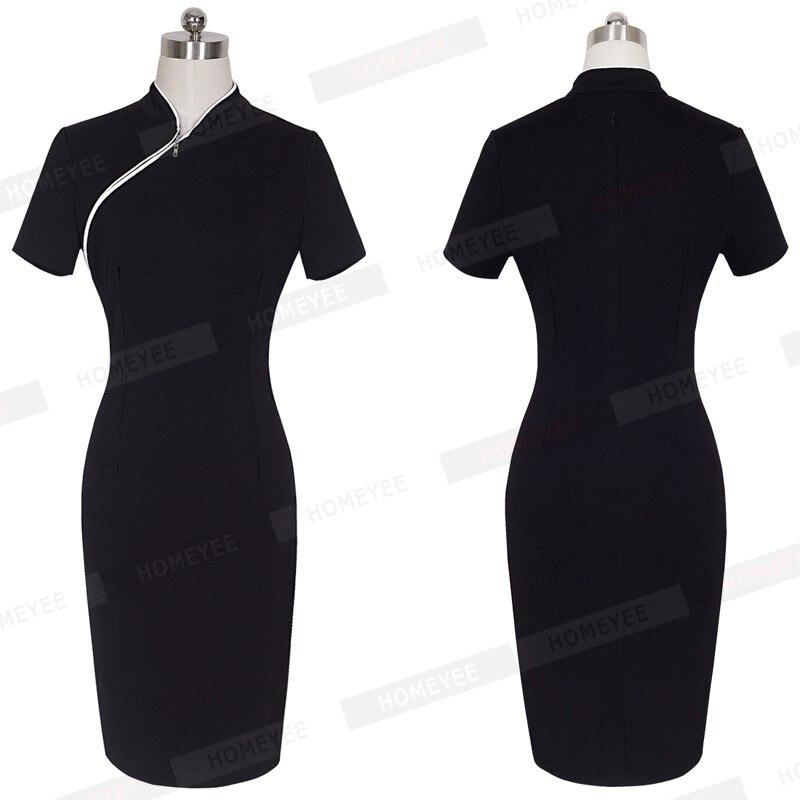 Летнее женское офисное платье, винтажное лоскутное, воротник-стойка, длина до колен, черное, облегающее, офисное платье, B60
