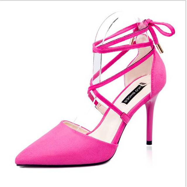 lowest price 2016 simple women ankle cross lacing uper 10.5CM high heel sandal female cutout pointed toe single OL shoe
