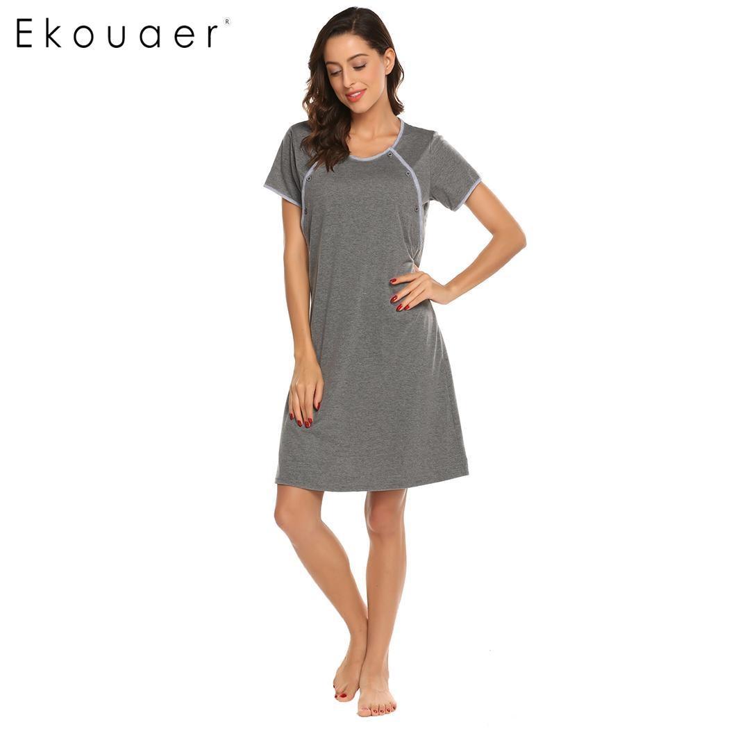 Ekouaer Nightgown Sleepwear Night Dress Maternity Sleepshirts ...