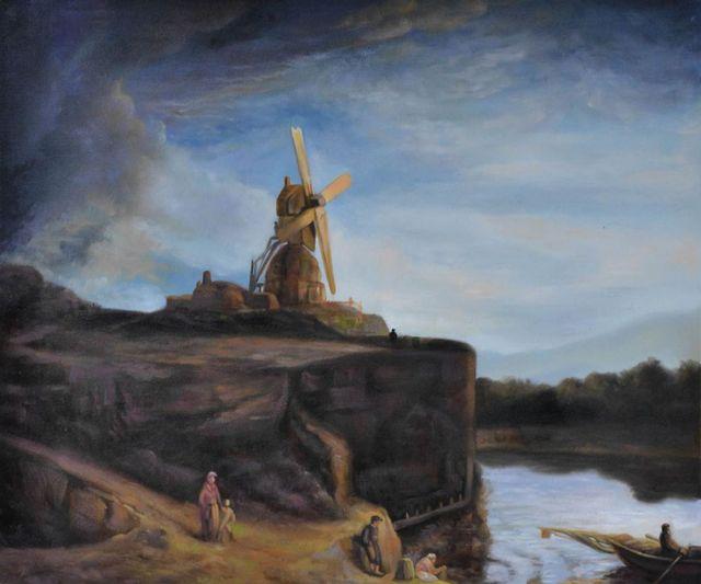 Illustration de paysage Le Moulin Rembrandt van Rijn Peinture à l ...