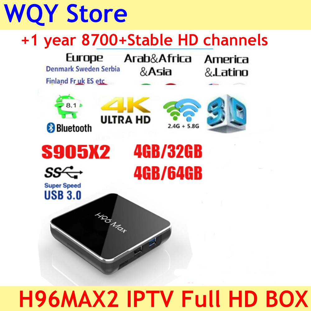 2019 popular H96 Max X2 S905X2 in stock Quad Core  tv box Android 8.1 2.4G 5G WiFi USB3.0 with 8700+Channels full hd euro IPTV-in Set-top Boxes from Consumer Electronics    1