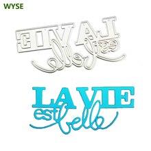 New Cutting Dies French Words La vie est belle Metal cutting dies letter Craft Die cut for DIY Scrapbooking Card making supplies