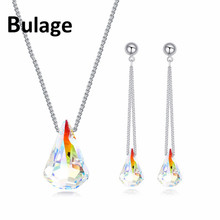 Bulage Genuine Crystals From SWAROVSKI Spike Pendant Necklaces Long Chain Drop Earrings Jewelry Sets For Women Lovers Gift joyashiny crystals from swarovski classic romantic heart pendant necklaces drop earrings jewelry sets for women lovers gift