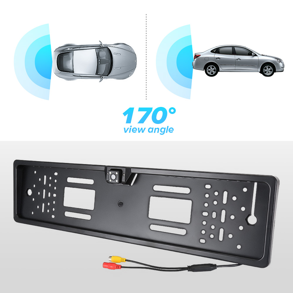 Image 2 - Auto Parktronic EU Car License Plate Frame HD Night Vision Car Rear View Camera Reverse Rear Camera With 4 Led Light-in License Plate from Automobiles & Motorcycles