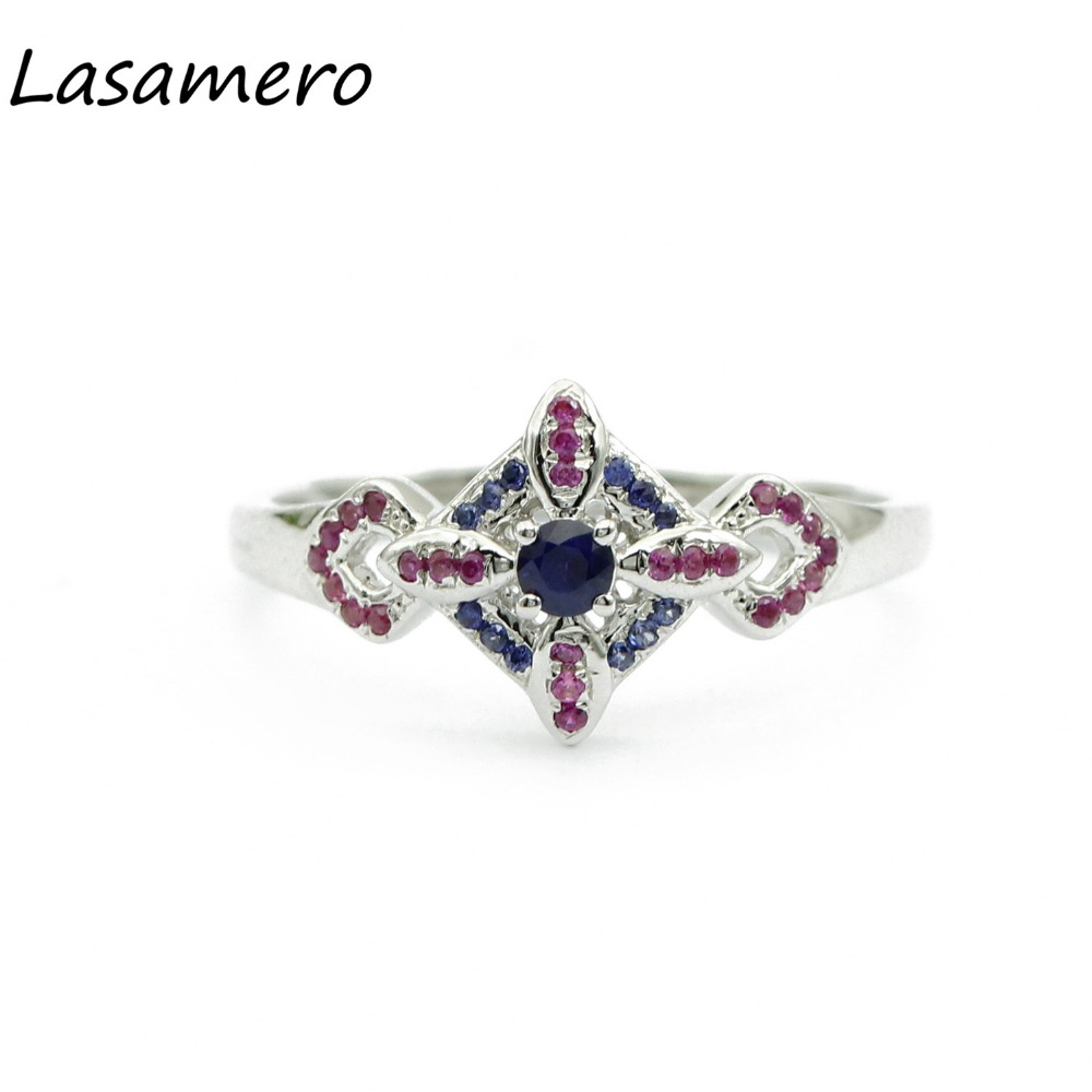 LASAMERO Rings for Women 0.08CT Round Cut Natural Sapphire Rings 925 Silver Engagement Wedding Rings