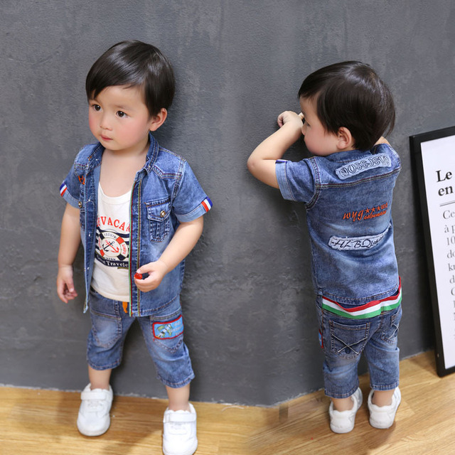 59a39b063de1 baby boys clothes summer denim short sleeved suit 1 2 3 year old ...