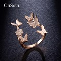 CHSOUL Flower Butterfly Rings Rose Gold Plated Zirconia Open Rings For Women Ladies Romantic Jewelry