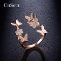 CHSOUL Mariposa de la Flor de Rose de Los Anillos de Oro Plateado Zirconia Anillos Abiertos Para Las Mujeres Señoras de La Joyería Romántica