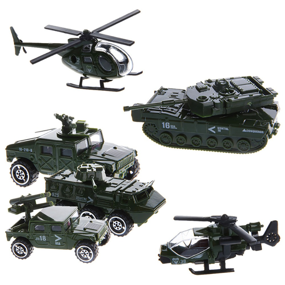 Hot 6Pcs 1:87 Scale Car Military Military Engineering Aircraft Vehicle Kid Toy Model ...