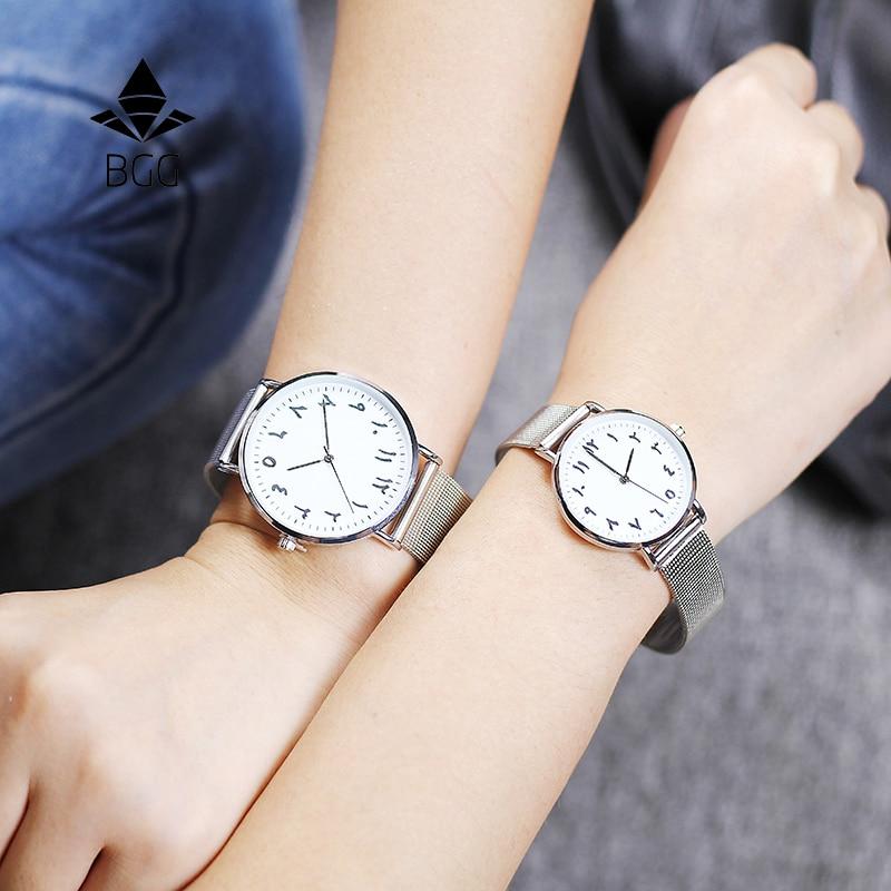 Números árabes de moda reloj de las mujeres bgg marca de lujo ultrafino de las mujeres reloj de pulsera de cuarzo reloj de dama reloj montre femme horloge saat