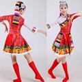 S-XXXLTibet национальности танцевальные костюмы Женщины костюмы меньшинств Тибетское Нагорье Взрослых этнические танцевальные костюмы Наряды
