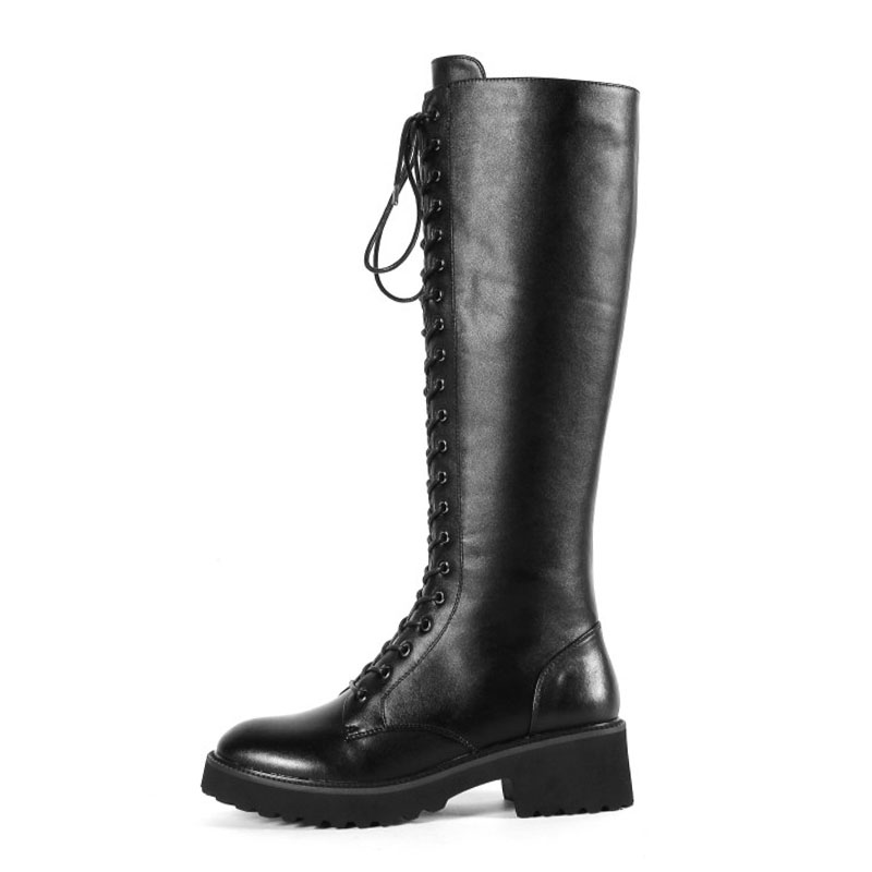 Chaussures D'hiver Up forme En Femme Taille 34 À Noir Haute Chaud Fourrure Bottes Gladiateur De Talons Cuir 43 Hauts Rizabina Véritable Femmes Plate Genou Lace Uq8fwF