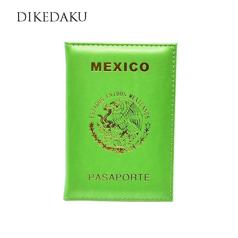 DIKEDAKU New Mexico Travel Passport Cover Women Luxury Pu Leather Passport Holder Mexico Emblem Print Case For Passport Envelope