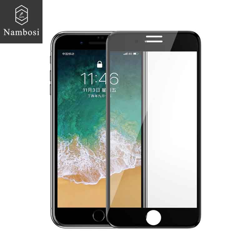 Nambosi 3D curved tempered glass for iPhone 6 7 8 screen protector glass on iPhone 7 8 6 plus Full cover Double strengthening