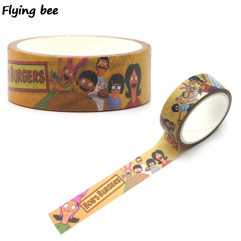 Flyingbee 15mmX5m Paper Washi Tape Bob's Burgers Cute Adhesive Tape DIY Scrapbooking Sticker Label Masking Tape X0264