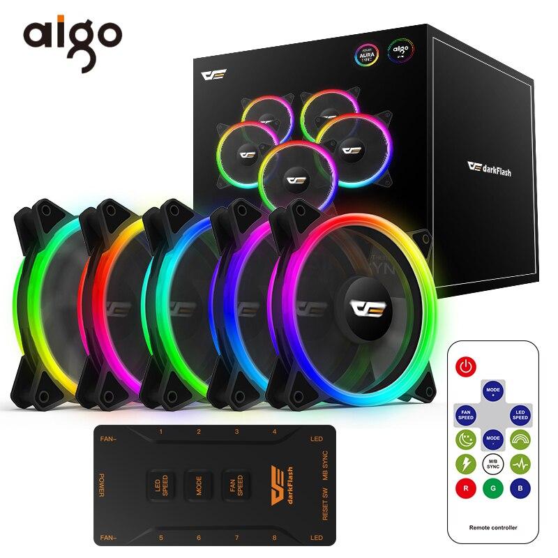 Aigo PC ordenador ventilador de caja DR12-Pro Aura Sync ventilador RGB ajustar LED 120mm tranquilo ordenador remoto de enfriamiento del refrigerador CPU ventilador de caja