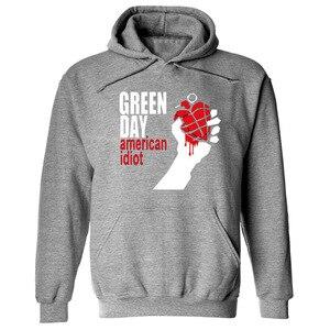 Image 1 - グリーン印刷パンクロックパーカー男性女性フリース長袖ヒップホップトレーナープルオーバーストリートスケートボードパーカー