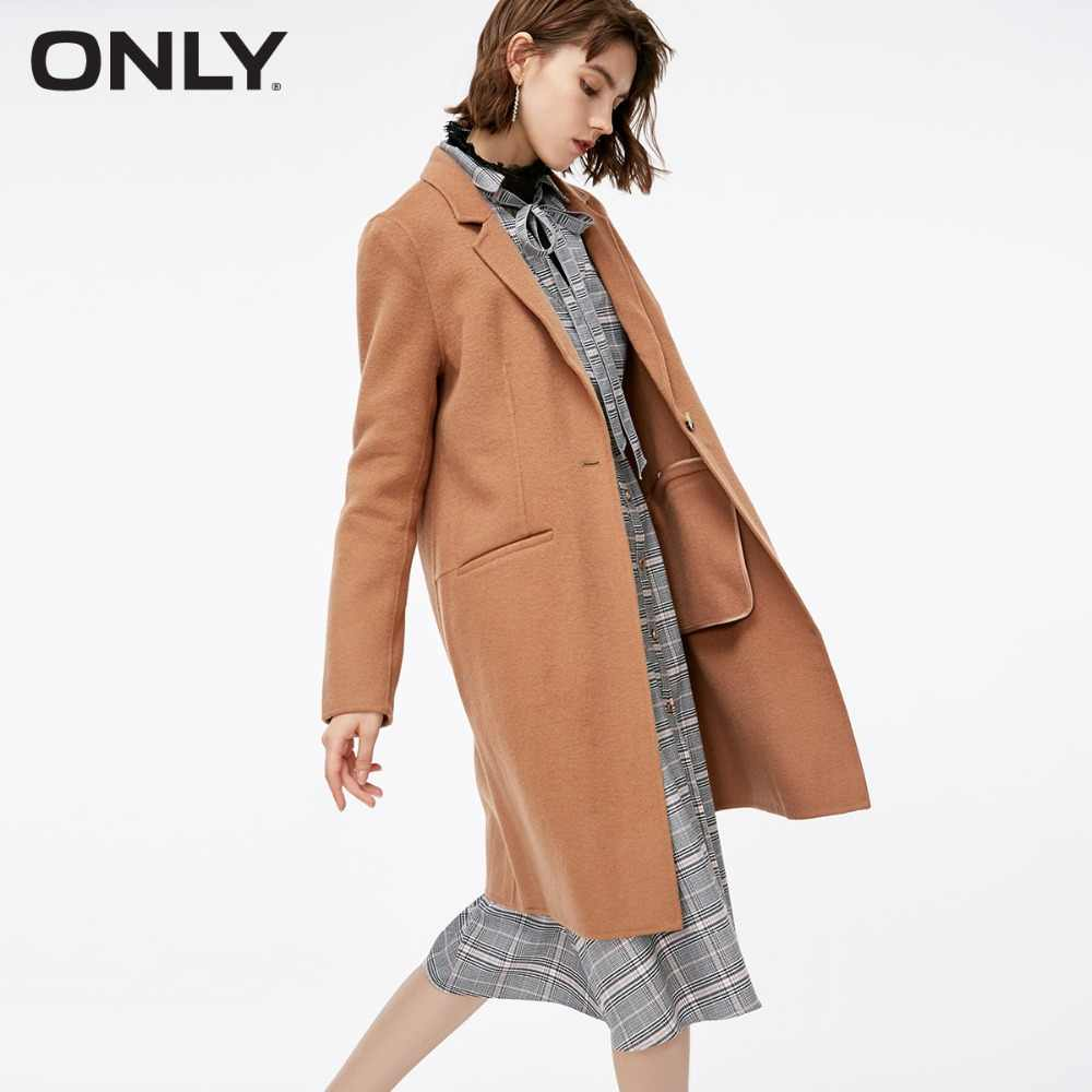 ONLY  womens' winter new fashion double-faced woolen coat Simple and stylish Floral print button|11834S506