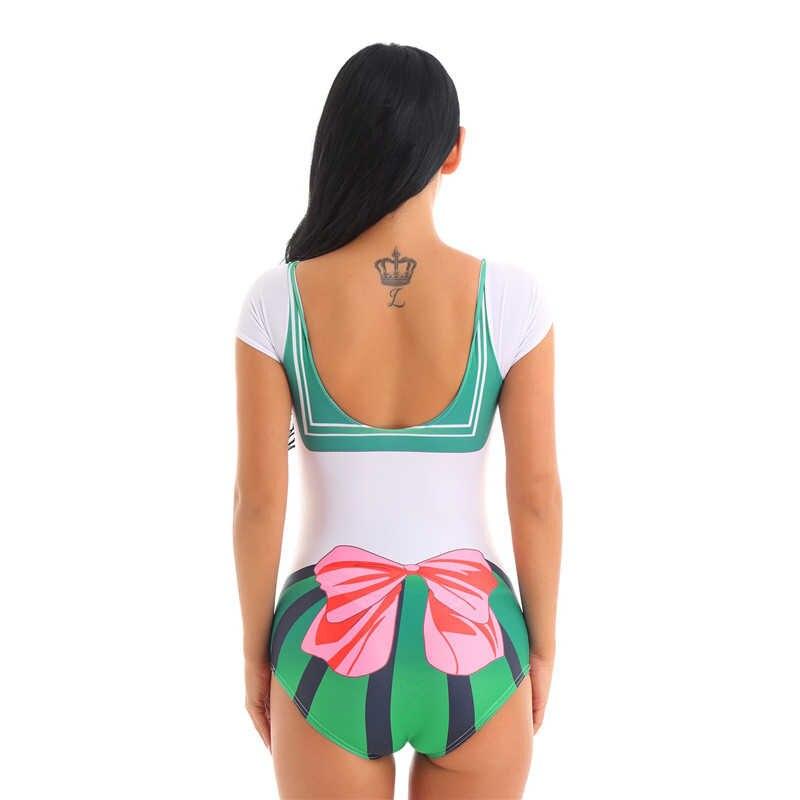 Wanita One Piece Swimsuit Lengan Pendek Deep U Leher Dicetak Anime Sailor Cosplay Pakaian Renang Baju Renang Pesta Pantai Baju Renang