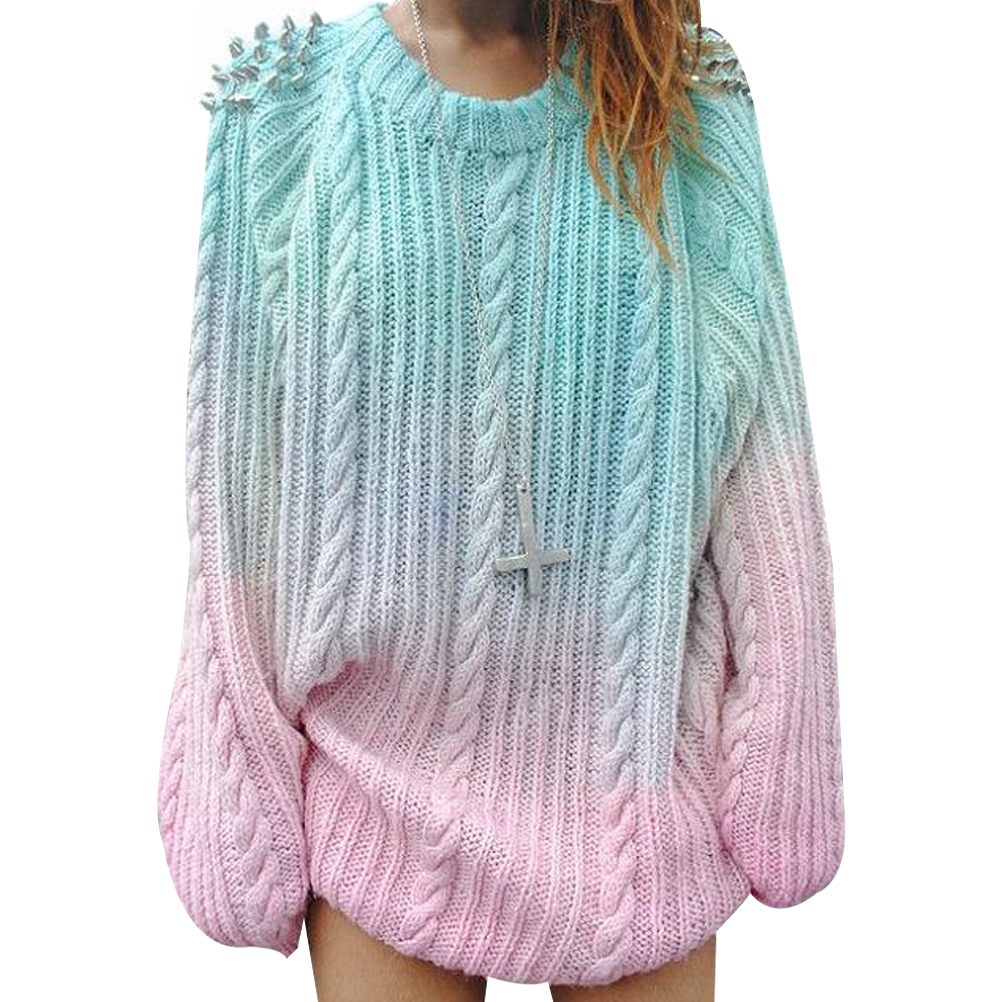 Women 2018 Winter New Sweater Loose Pullover Knitted Gradient Color Fashion Twist Beaded Sweater Tops Harajuku Female