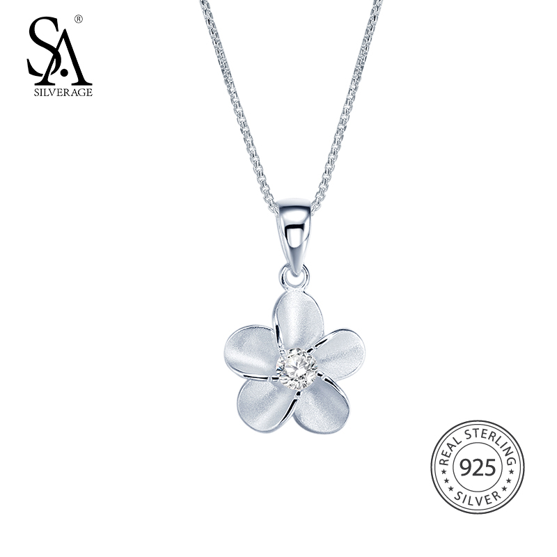 SA SILVERAGE 925 Sterling Silver Flower Long Necklaces