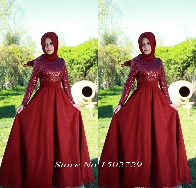 Saudi Arabic Burgundy Sequined Muslim Evening Dress with font b Hijab b font High Neck Long