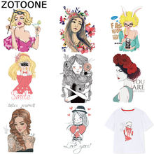 ZOTOONE Fashion Girls Stickers Patches for Kids Iron on Transfers for Clothes T-shirt Heat Transfer DIY Accessory Appliques F1(China)