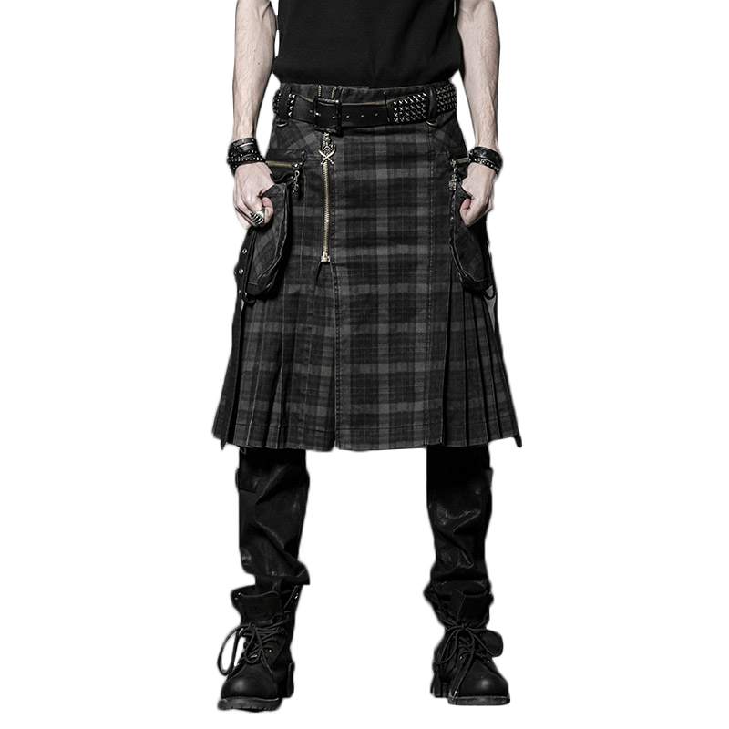 Brown Gothic Punk Scottish Kilt Costume Double Pockets Men Skirts Belt Lattice Plait Skirts Bilateral Pocket Chain Skirts
