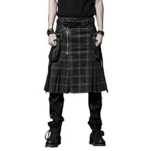 Brown Gothic Punk Scottish Kilt Costume Double Pockets Men Skirts Belt Lattice Plait Skirts Bilateral Pocket