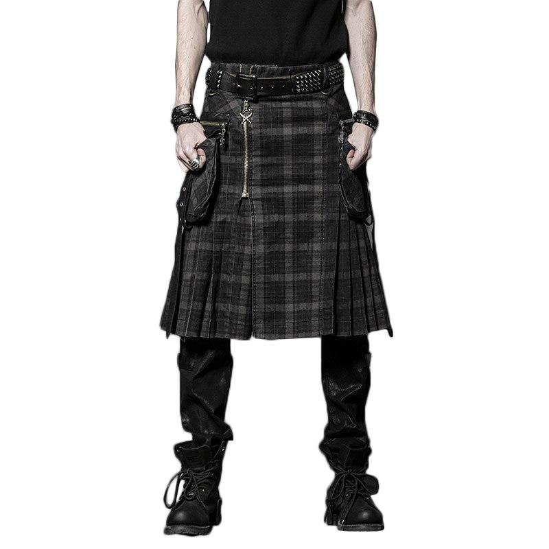 Brun Gothique Punk Kilt Écossais Costume Double Poches Hommes Jupes Ceinture Treillis Tresse Jupe Jupes Poche Bilatérale Chaîne Jupes