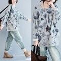 платья больших размеров   женщин топы осенняя мода случайные свободные футболка Футболка летучая мышь с длинным рукавом печати рубашки blusas femininas