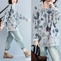 Plus size womens oversize tops autumn fashion casual loose sweatshirt T-shirt batwing long sleeve print shirt blusas femininas