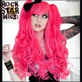 MCOSER Free Shipping Heat Resistant Synthetic Long Pigtail Hot Pink Party Carnival Wig