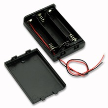 цена на Free shipping by DHL Battery Cover Box Plastic Black 3 AA Battery Holder Case With Switch 150mm wires100pcs/lot