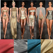 Strech Lycra Fabric Elastic Fabric Electro Color Flash Point Gold Soft Color Fabric for Evening Wear Dress Trousers Swimsuit(China)