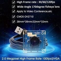 O rozdzielczości 2.0 mln pikseli HD CMOS OV2710 usb 2.0 high speed 30/60/120fps szeroki kąt 170 stopni obiektyw typu rybie oko moduł kamery usb kamera internetowa 1080 P
