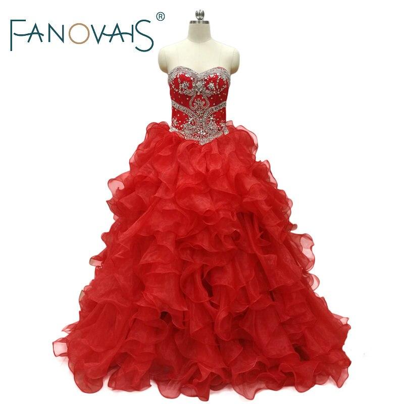 Luxurious Quinceanera Dress Ball gowns Beads Ruffles Prom Dress Sweet 16 princess gownsVestido de debutantes e 15 anos barato