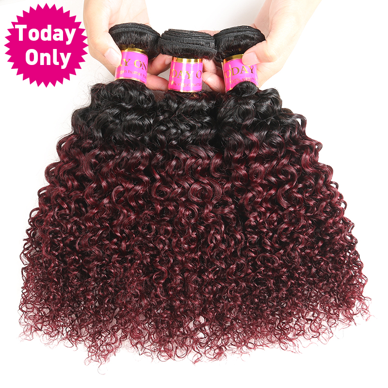 [TODAY ONLY] 1Pc Burgundy Ombre Brazilian Hair Kinky Curly Weave Human Hair Bundles 1b 99j Non Remy Hair Can Buy 3 or 4 Bundles