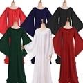 Medieval Vintage mujeres traje con volantes escote largo vestido gótico encaje vestido Chemise ropa