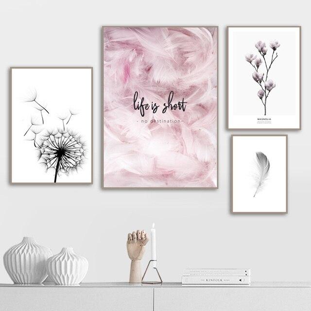 Feder Löwenzahn Magnolia Blume Wand Kunst Leinwand Malerei Nordic Poster Und Drucke Wand Bilder Für Wohnzimmer Schlafzimmer Dekor