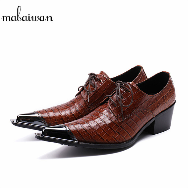 Mabaiwan Men Formal Metal Toe Lace Up Dress Italian Crocodile Shoes Men Party Wedding Handmade Leather Loafers Footwear Flats goodster crocodile men leather shoes italian handmade men wedding shoes party banquet men oxfords