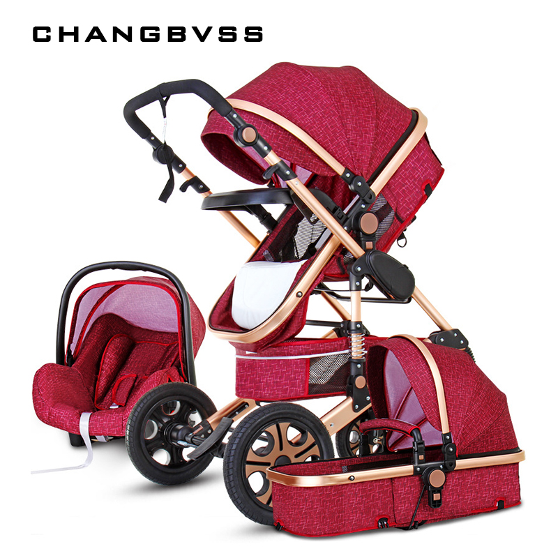 2018 New Baby Stroller 3 In 1 High Landsacape Folding Newborns Carriage With Car Seat Baby Prams for 0~3Years poussette 6 Color все цены