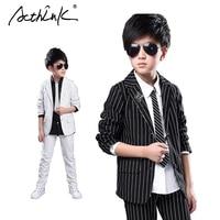 ActhInK ילדים גדולים חדשים פסים רשמיים מותג חליפת טוקסידו חתונה ילדים פורמליות בלייזר רשמי חליפות בנים זולים תלבושות לבנים  C193