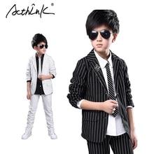 ActhInK New Big Boys Formal Striped Tuxedo Suit Brand Wedding Boys Cheap Formal