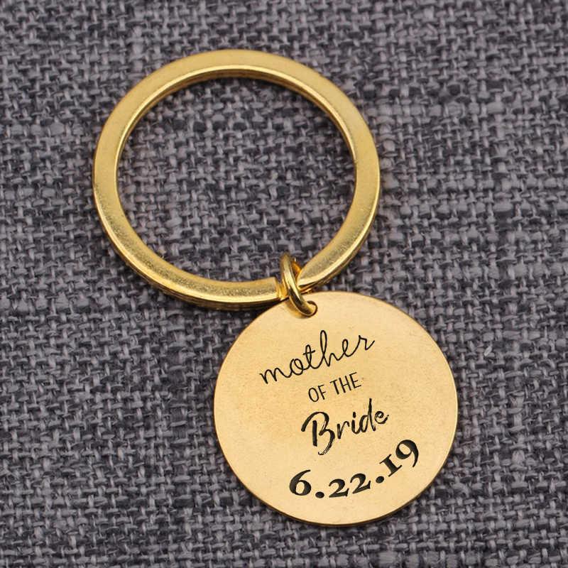Персональный подарок для матери невесты на свадьбу, брелок для ключей, подвеска для ключей, круглые аксессуары, специализирующиеся